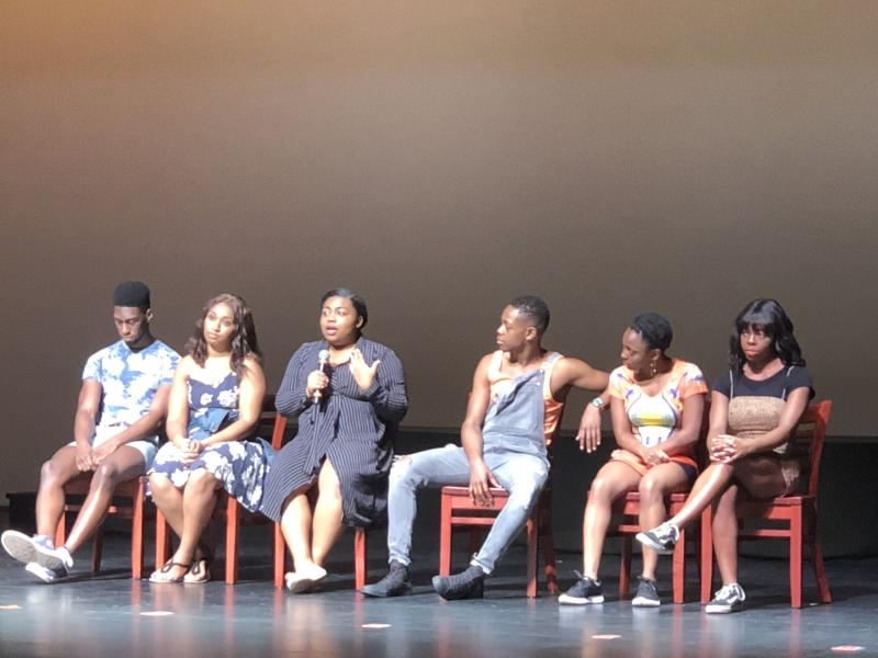 Cast of Turning 15 on the Road to Freedom discuss show with audience